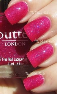 Butter London in Disco Biscuit // A tropical hot-pink nail lacquer with an undercurrent of tiny iridescent glitter particles. // $15.00