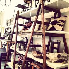 vintage ladder shelving- like the stain and colors