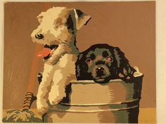 Vintage puppy paint by number  8 x 10  by SeaGlassGifties on Etsy