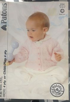Baby Toddler Lacy Cardigan knitting pattern 4 ply yarn #Patons