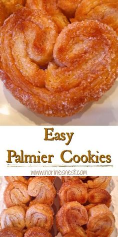Flakey Sugary Buttery Palmier Cookies are perfect for Dunkin' in your favorite Holiday Hot Drink! Biscuits Palmier, Palmier Cookies, Puff Pastry Desserts, Puff Pastry Recipes, Pastries Recipes, Baking Recipes, Cookie Recipes, Dessert Recipes, Dessert Simple