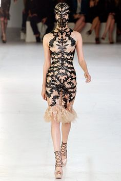 Alexander McQueen Spring 2012 RTW Lace and Leather Appliqué Dress
