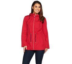 Susan Graver Water Resistant Packable Anorak Jacket with Hood — QVC.com