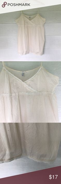 Cream cami Cream colored top. Adjustable straps. Size xxl. Pretty lace on bust and hemline Old Navy Tops