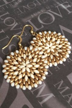 Cream and Satin Gold Seed Bead Earrings  Big Bold by WorkofHeart
