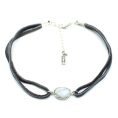 Child of Wild Leather Choker Authentic Moonstone Pendent set in Sterling Silver Authentic plush grey leather Leather measures 11 inches long with adjustable ending Adjustable ending