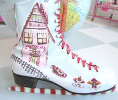 Painted Ice Skate for hanging. Christmas and Winter by mollieburd