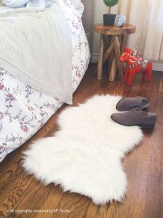 White Faux Sheepskin Shag Rug Decorative Nursery Rug Cozy fur Bedroom rug Handmade Faux Sheepskin All Sizes
