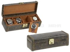 FRIEDRICH 23 CUBANO - Leder Uhrenkasten Uhrenbox Uhrenschatulle für 4 Uhren - braun