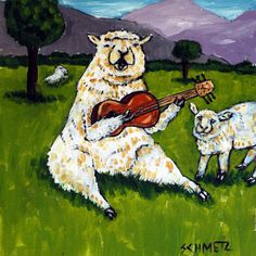 Sheep Ram playing Guitar Bar animal art tile coaster. 4.25 x 4.25 inch Decorative ceramic art tile listed and individually made by the artist Four cork dots on the back of the tile protect counters/tables High quality and very durable Pictures are to show what the tile looks like but with the image for this listing . 2nd photo in product pictures is a sample picture showing what the product will look like but with the image for this listing.