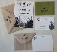 Woodland Wedding Invitation on Recycled Paper