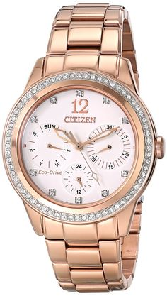 Women watches | Best Gold watches for women Citizen Eco-Drive Dress Stainless Steel – Rose-Gold Women's watch #FD2013-50A