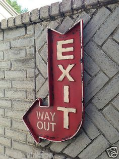 """Large """"Exit Way Out"""" Metal Sign Home Theater Cinema System Popcorn Stand Vintage"""