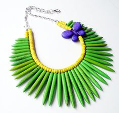 Green Spike Necklace  Purple Butterfly Beaded by BijiJewelry