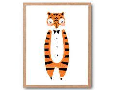 Safari vivero impresión, impresión del arte del bebé tigre, tigre de impresión, regalo del bebé animales bebé vivero Decor, Baby Shower, decoración de habitación de los niños