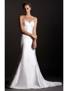 Shantung Strapless Pleated Sweetheart Wedding Dress