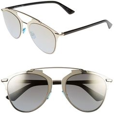Dior Pre-owned Dior Reflected 52mm Mirror Aviator Sunglasses Light... (1.525 BRL) ❤ liked on Polyvore featuring accessories, eyewear, sunglasses, black gold sunglasses, uv protection sunglasses, mirrored sunglasses, mirror lens sunglasses and black lens sunglasses
