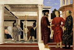 """Piero della Francesca, """"The Flagellation of Christ"""", c. 1455, Oil and tempera on wood, 59 x 82 cm, Galleria Nazionale delle Marche, Urbino. The flagellation scene from the bible takes place in an open gallery in the  distance while the three men from the foreground pay no attention to the event. The painting was depicted realistically through perspective by showing the size difference between figures, linear perspective and the geometrical order of the composition. (Kleiner 572)"""