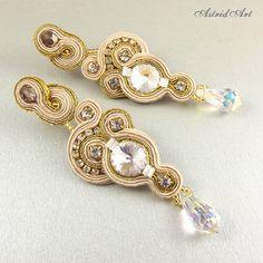 SOUTACHE earrings SILVER Swarovski. $75.00, via Etsy.  AstridQ