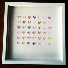 Lots of love on display. Make a shadow box using paper from the baby cards you receive at your baby shower; then hang in your babies room and tell him/her later that it represents the love and excitement of everyone waiting for them to be born! *danielley i will make this for u*
