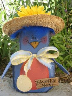 Betty Bluebird Patio Person Garden Art by SunburstOutdoorDecor Painted Bricks Crafts, Brick Crafts, Painted Pavers, Stone Crafts, Painted Rocks, Painting Concrete, Concrete Art, Art Concret, Outdoor Crafts