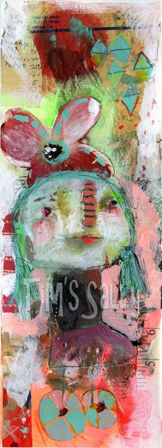 raw art PEDDLE mixed media original by Mindy by timssally