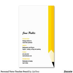 Personal Tutor Teacher Pencil Double-Sided Standard Business Cards (Pack Of 100)