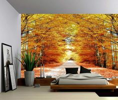 Autumn Maple Tree Road Large Wall Mural by GlowingWallDecor