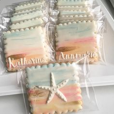 Making these cookies made me really miss summer!  #thepaintedpastry #decoratedcookies #customcookies #cookies #cookieart #watercolor #beach #beachy #baker #baked #beverly #beverlyma #abmlifeissweet
