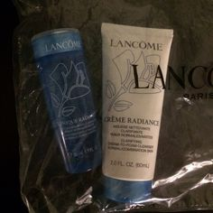 New! Lancôme Toner and Cleanser Travel Brand New | Never Used | Lancôme Toner and Cleanser Travel Size. NOT FULL SIZE. Tonique Radiance is a clarifying exfoliating toner for normal/combination skin 50ml (1.7 fl.oz) and Creme Radiance Clarifying Cream-To-Foam Cleanser for normal/combination skin 60ml (2.0 fl.oz). Still in packaging. Willing to bundle or make a reasonable offer. Lowball offers will be ignored. Lancome Other