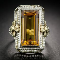 Vintage Citrine and Seed Pearl Ring !! November (born) Birthstone''Citrine''
