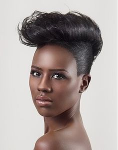 medium black straight relaxed ethnic updo quiff hairstyles for women