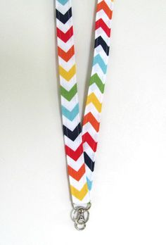 Chevron Lanyard ID Badge Holder Fabric Key Holder in Primary Colors for Back to School