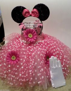 Pink and white Minnie Mouse tutu dress SET with ribbon neck strap HEADBAND Ears