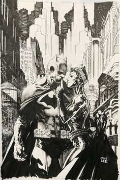"Batman and Catwoman by Jim Lee - will be used as the cover of ""Hush years anniversary edition"" Jim Lee Batman, Gotham Batman, Batman Robin, Black And White Comics, Black And White Artwork, Batman Comic Art, Batman Comics, Batman Und Catwoman, David Mann Art"