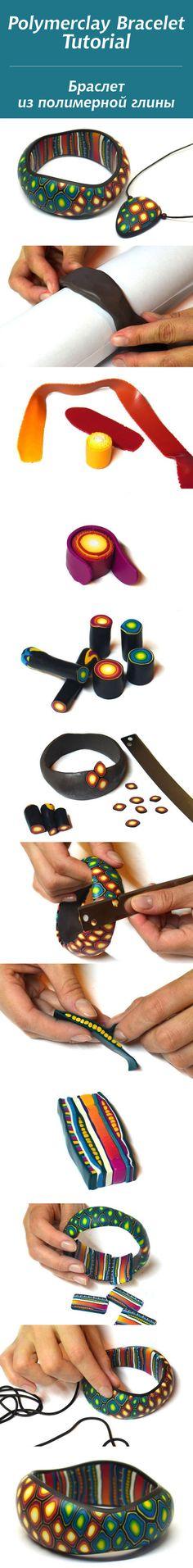 Polymer clay bracelet tutorial with canes Polymer Clay Bracelet, Polymer Clay Canes, Fimo Clay, Polymer Clay Projects, Polymer Clay Creations, Clay Crafts, Clay Design, Bijoux Diy, Clay Tutorials