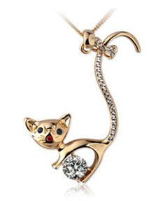 Long Diamante Embellished Golden Cat Design Necklace