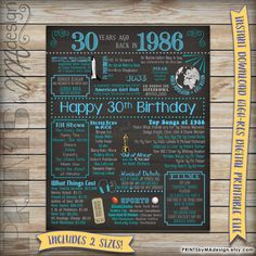 30th Birthday 1986 Printable Chalkboard Poster -- A fun birthday poster filled with facts, events, and tidbits from 1986. Makes an excellent