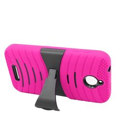 Insten Hot Pink/ Wave Symbiosis Soft Silicone/ PC Dual Layer Hybrid Rubber Case Cover with Stand For HTC Desire 510 #2217050