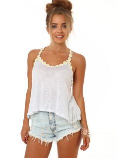 Daisy Crop Top White