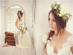 Bride searing claire pettibone dress with flowers in her hair