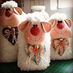 Diy Christmas Gifts, Easter Crafts, Christmas Crafts, Sewing Toys, Sewing Crafts, Sewing Projects, Sheep Crafts, Doll Crafts, Sheep And Lamb
