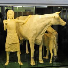 "The Iowa butter cow at the Iowa State Fair, Des Moines, Iowa.  Every year, there's a new ""design."""