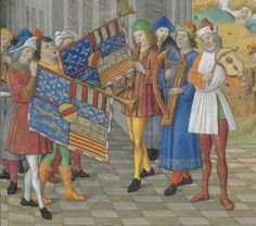 MUSICIANS  with arms of René d'Anjou Bréviaire du roi René, Bibliothèque de l'Arsenal, Ms-601 réserve, fol. 44r. Bréviaire de René II de Lorraine, dit Bréviaire du roi René