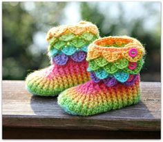CROCHET PATTERN: Crocodile Stitch Boots Child by bonitapatterns