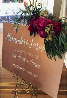 """Welcome Wedding Sign """"Johanna & Samuel Welcome You To Eat, Drink & Be Fun #pimpdownforDonnell"""""""