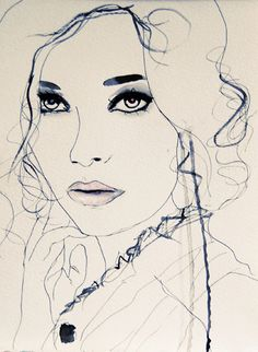 Leigh Viner.  @Anna Brandon you should make art like this.  Well you kind of already do. pen, sketch, female faces, blue fashion, fashion models, art prints, illustration art, blue art, fashion illustrations