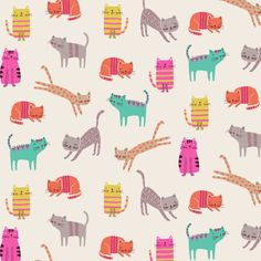COTTON FABRIC 'Cats' Dashwood Studio by BirdyandBlue on Etsy
