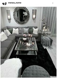 Living Room Decor Colors, Cozy Living Rooms, Living Room Grey, Room Decor Bedroom, Apartment Living, Living Room Designs, Black And White Living Room Decor, Gray Bedroom, Apartment Ideas
