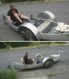 This amazing amphibious vehicle is a bike – and a boat. Made of a reclaimed canoe as well as bike parts and two propellers, the 'Sea Nymph' by Megulon Five appears to float along the street as it's pedaled, and from the looks of it, the rider can go straight from land to sea.